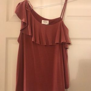 Tops - Adorable Mauve Pink Top with Shoulder Detail